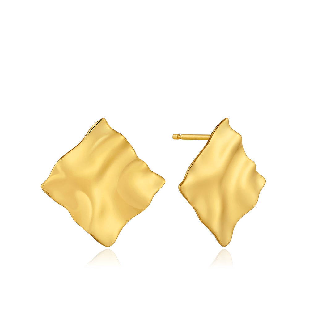 Load image into Gallery viewer, Gold Crush Square Stud Earrings