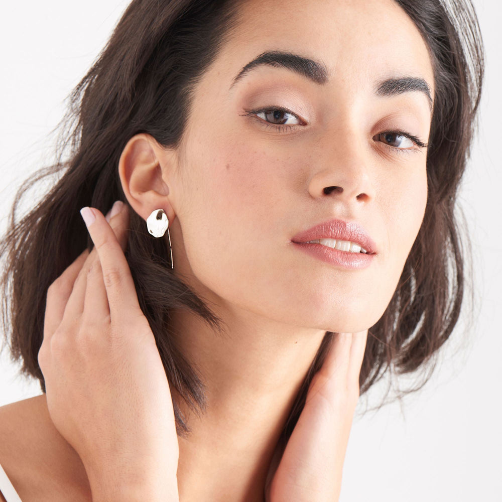 Silver Crush Disc Solid Drop Earrings