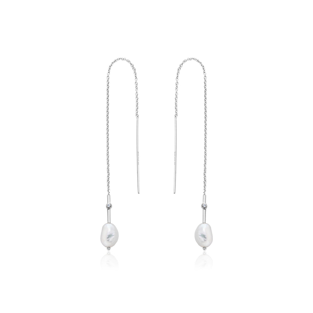 Silver Pearl Threader Earrings