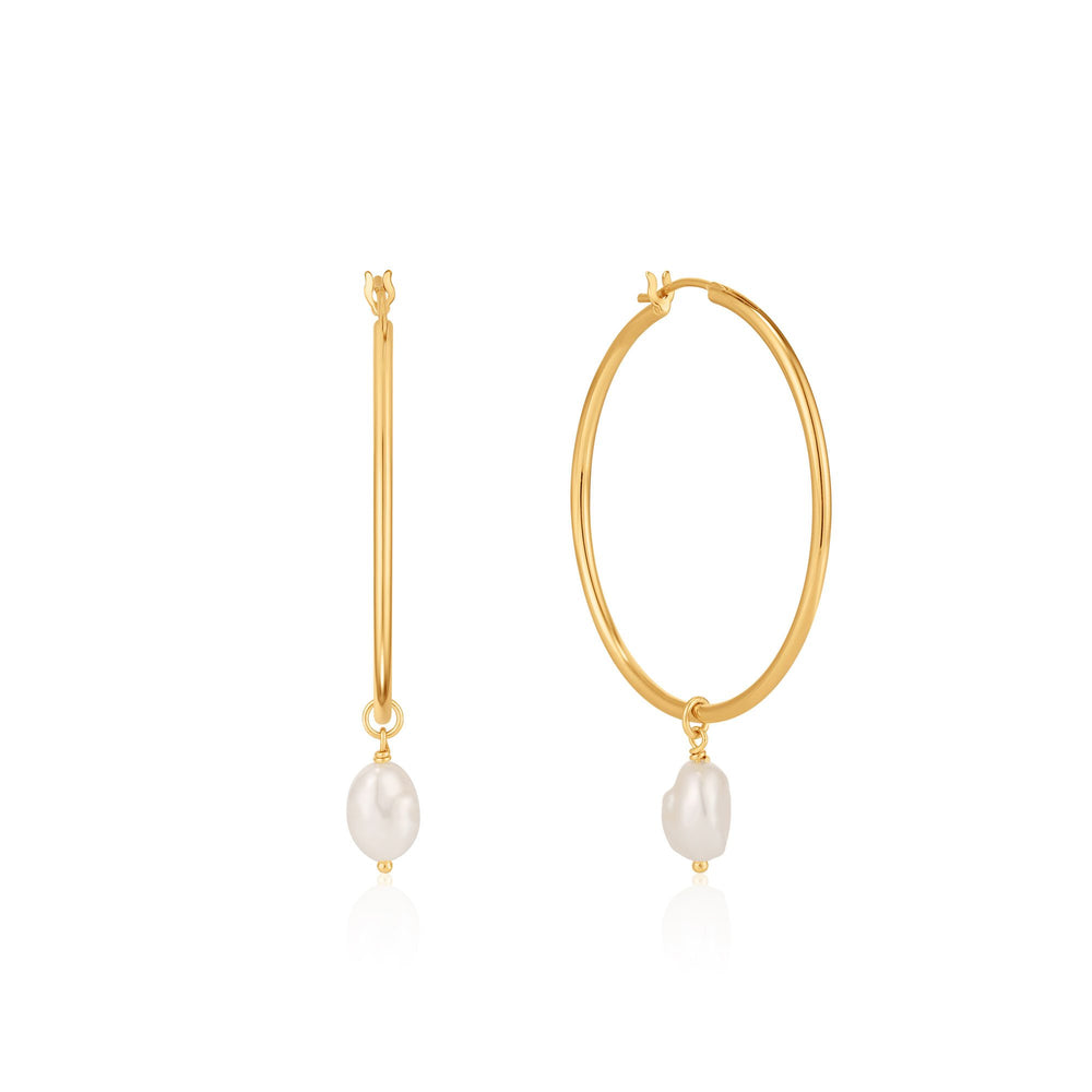 Load image into Gallery viewer, Gold Pearl Hoop Earrings