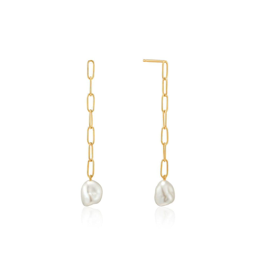 Gold Pearl Chunky Drop Earrings