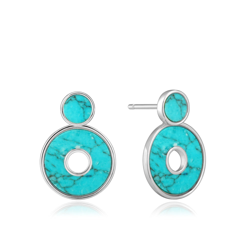 Silver Turquoise Disc Ear Jackets