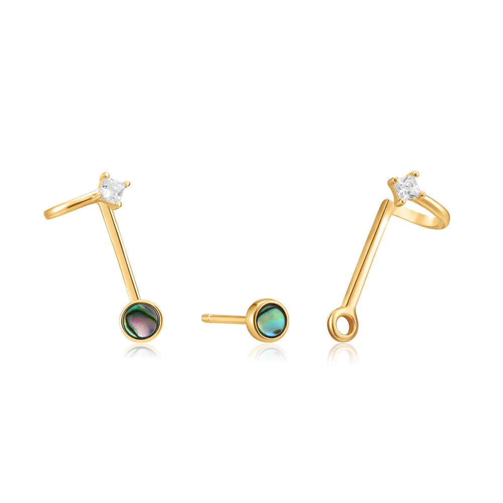 Gold Tidal Abalone Double Stud Earrings