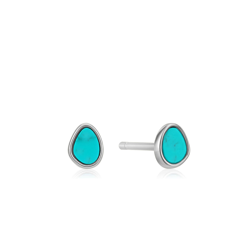 Silver Tidal Turquoise Stud Earrings