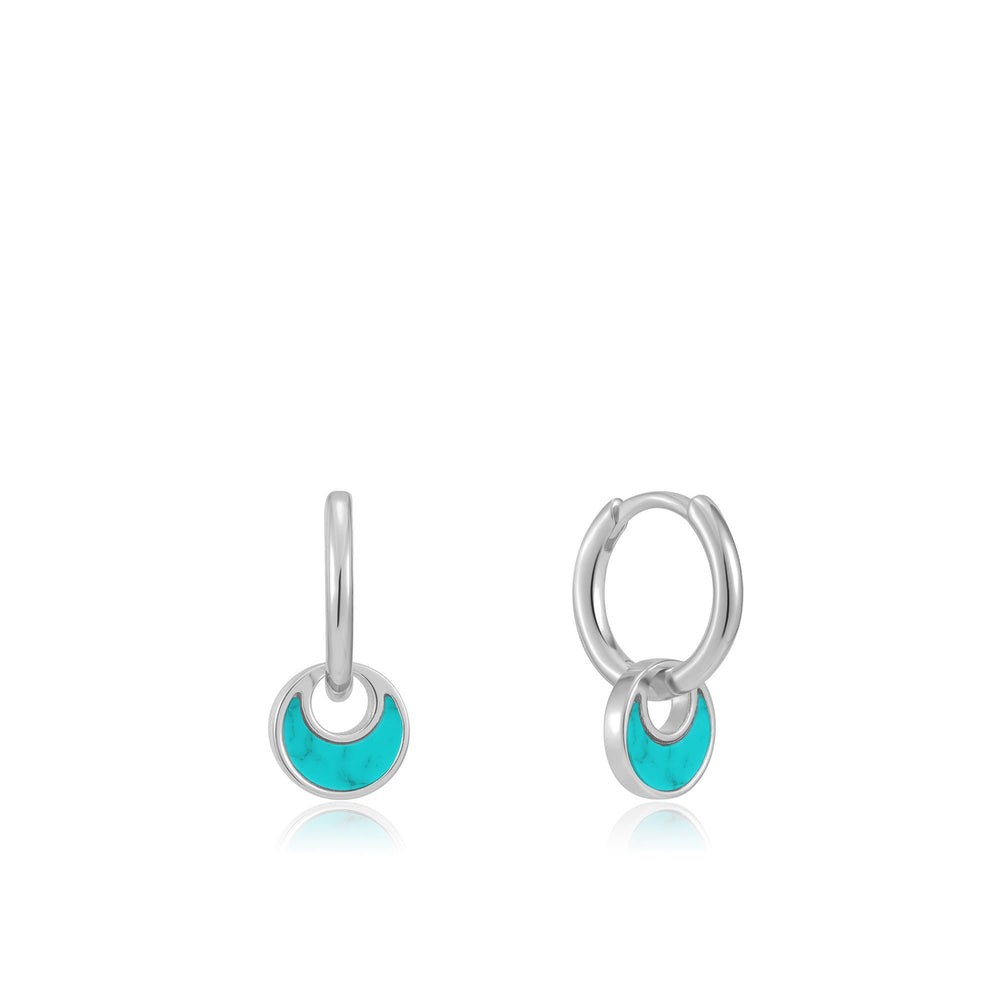 Silver Tidal Turquoise Crescent Huggie Hoops
