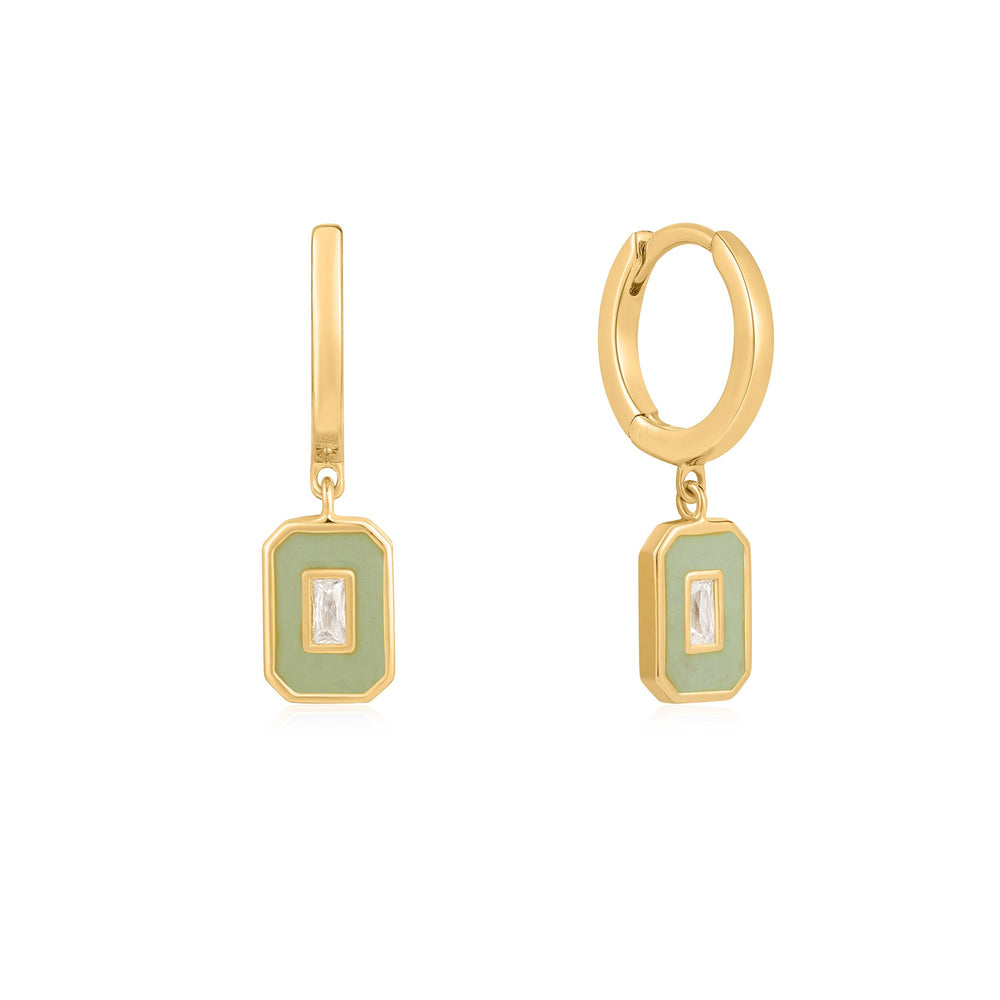 Sage Enamel Emblem Gold Hoop Earrings