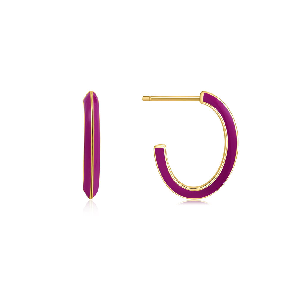 Berry Enamel Thick Gold Hoop Earrings