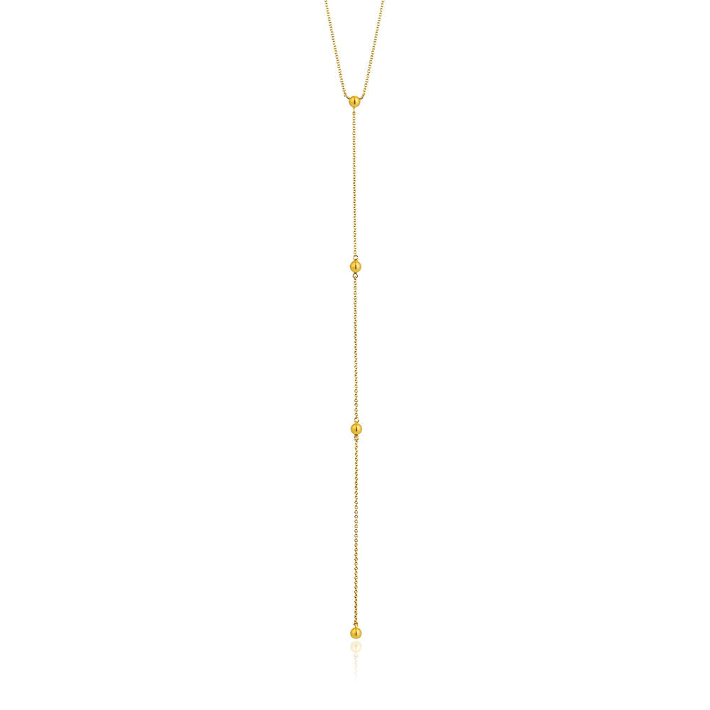 Gold Modern Beaded Y Necklace