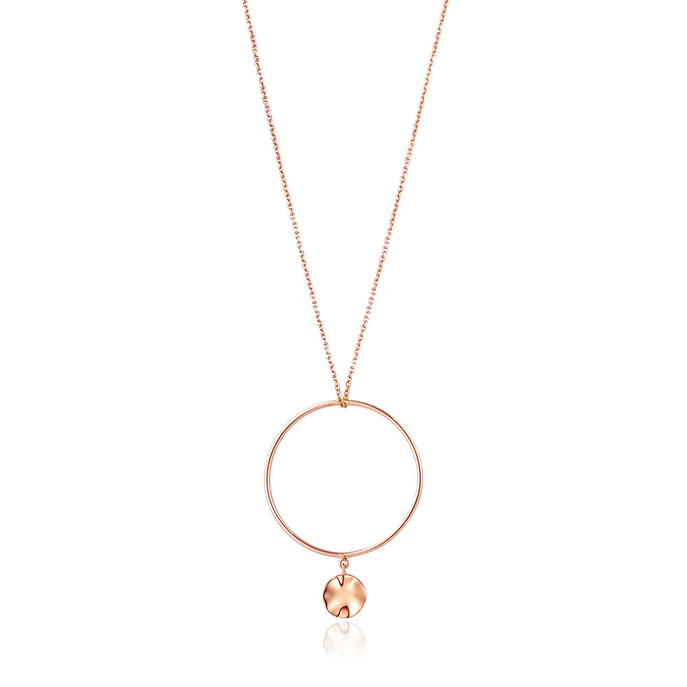 Rose Gold Ripple Circle Necklace