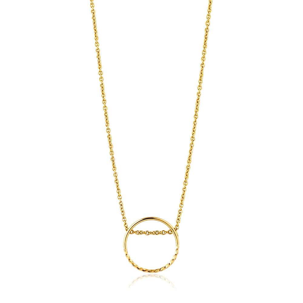 Gold Twist Chain Circle Necklace