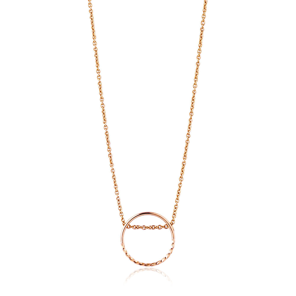 Rose Gold Twist Chain Circle Necklace