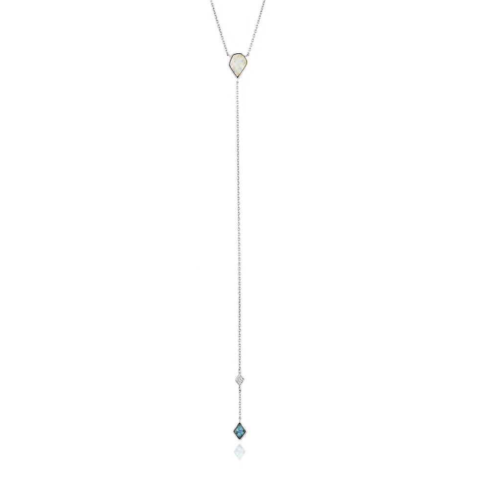 Turquoise and Opal Color Silver Y Necklace
