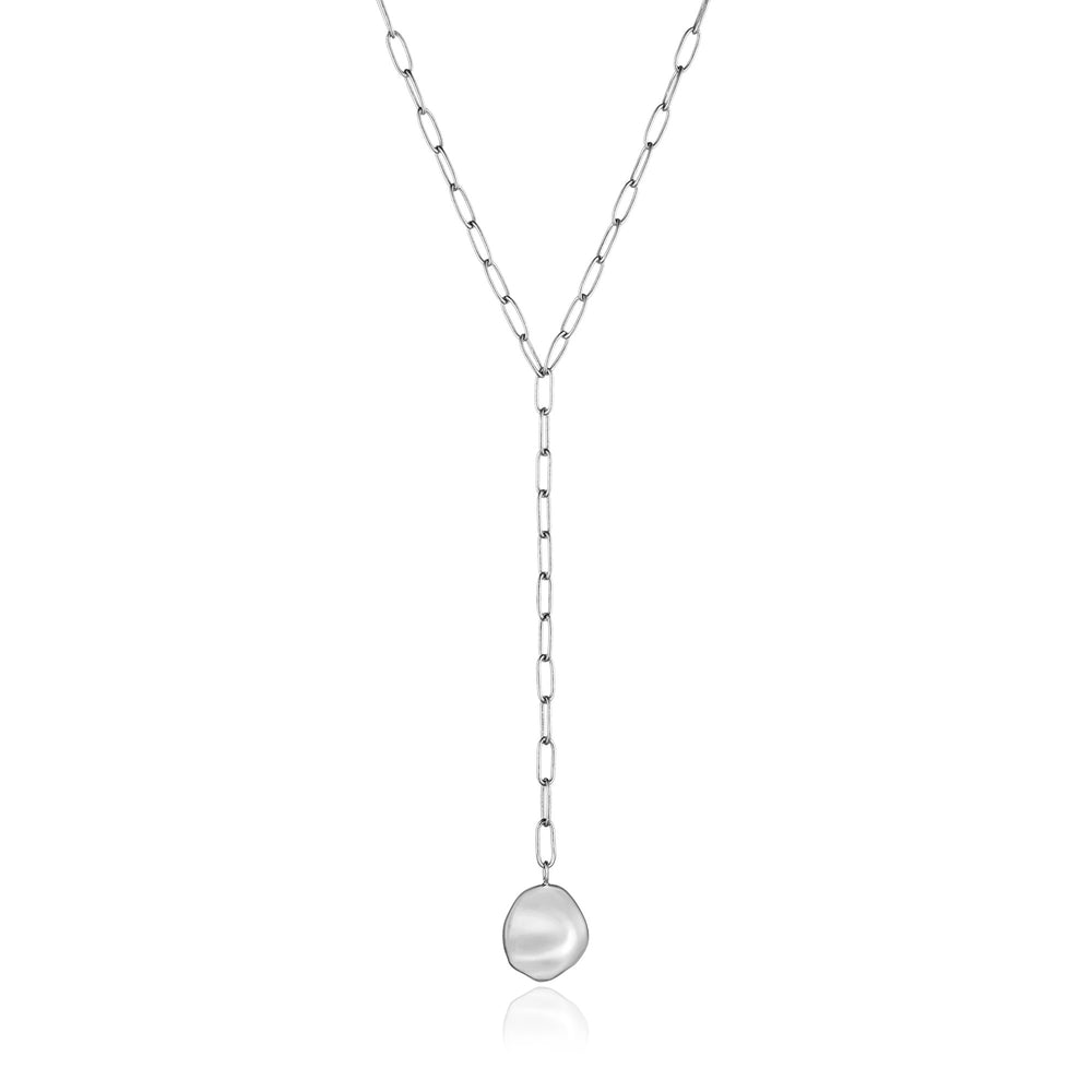 Silver Crush Disc Y Necklace