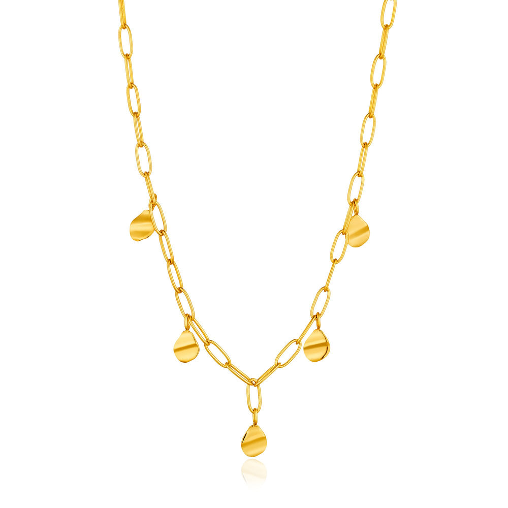 Gold Crush Drop Discs Necklace