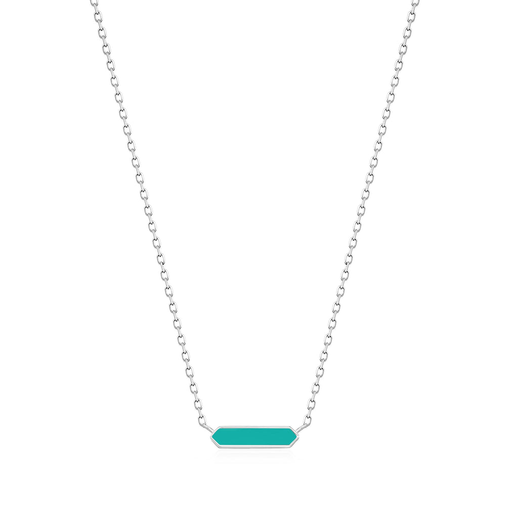Teal Enamel Bar Silver Necklace