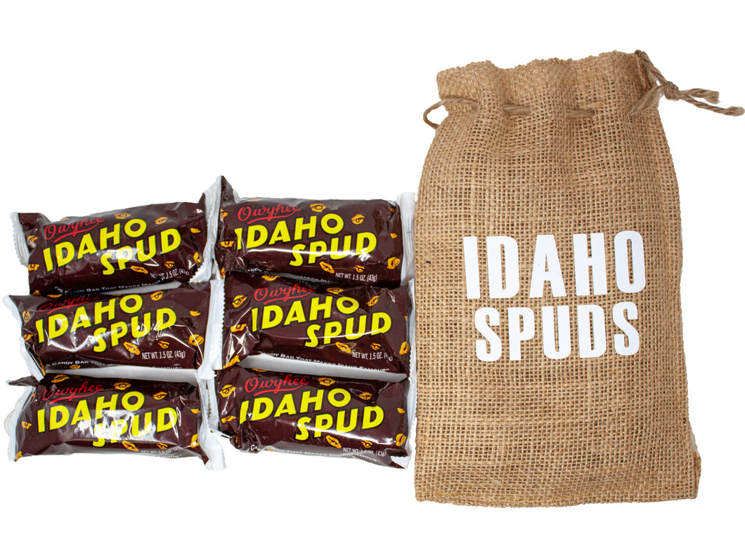 Famous Idaho Spud Candy Bars in Keepsake Burlap Sack