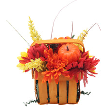 Load image into Gallery viewer, Artificial Pumpkins and Mums Orange Basket Back