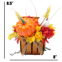 Load image into Gallery viewer, Artificial Pumpkins and Mums Orange Basket Dimensions