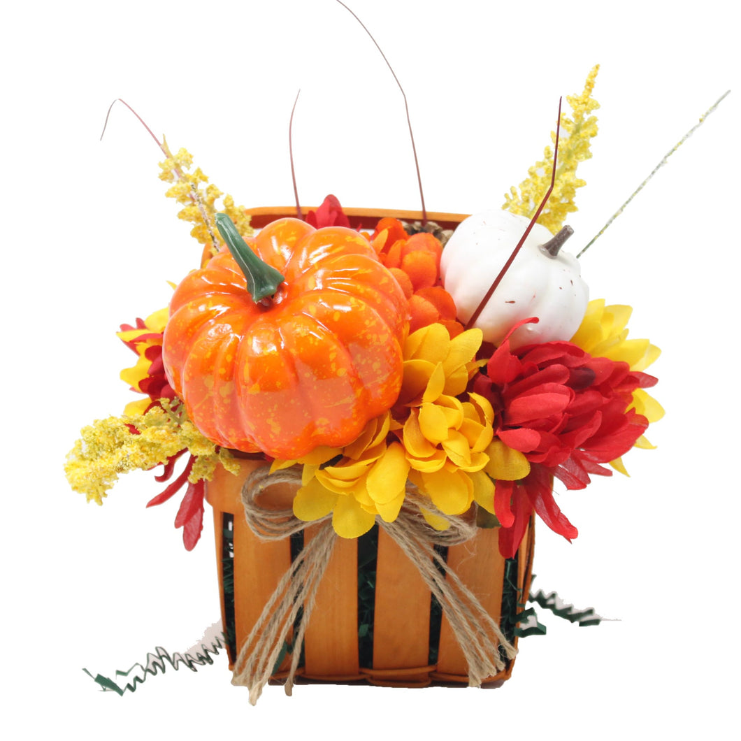 Artificial Pumpkins and Mums Orange Basket Front