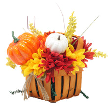 Load image into Gallery viewer, Artificial Pumpkins and Mums Orange Basket Side