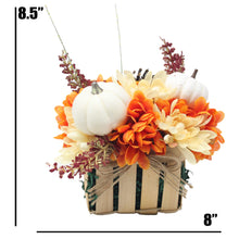 Load image into Gallery viewer, Artificial Pumpkins and Mums Tan Basket Dimensions