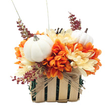 Load image into Gallery viewer, Artificial Pumpkins and Mums Tan Basket Front
