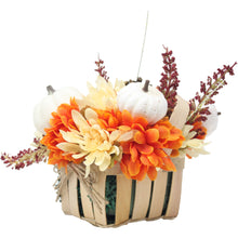 Load image into Gallery viewer, Artificial Pumpkins and Mums Tan Basket Side