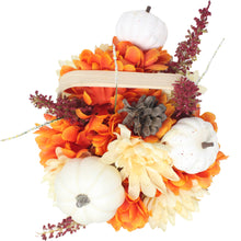 Load image into Gallery viewer, Artificial Pumpkins and Mums Tan Basket Top