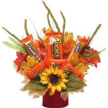Load image into Gallery viewer, Fall Themed Chocolate Reese's Candy Bouquet front view of arrangement