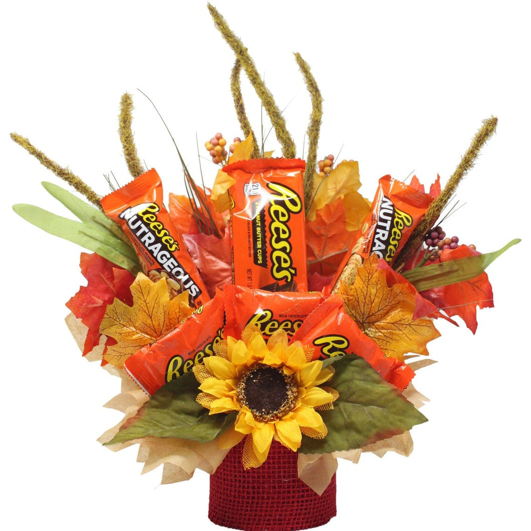 Fall Themed Chocolate Reese's Candy Bouquet front view of arrangement
