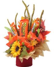Load image into Gallery viewer, Fall Themed Chocolate Reese's Candy Bouquet side view