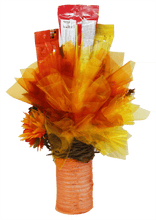 Load image into Gallery viewer, Autumn Scarecrow Candy Bouquet Back View