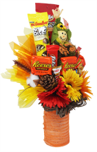 Load image into Gallery viewer, Autumn Scarecrow Candy Bouquet Side View