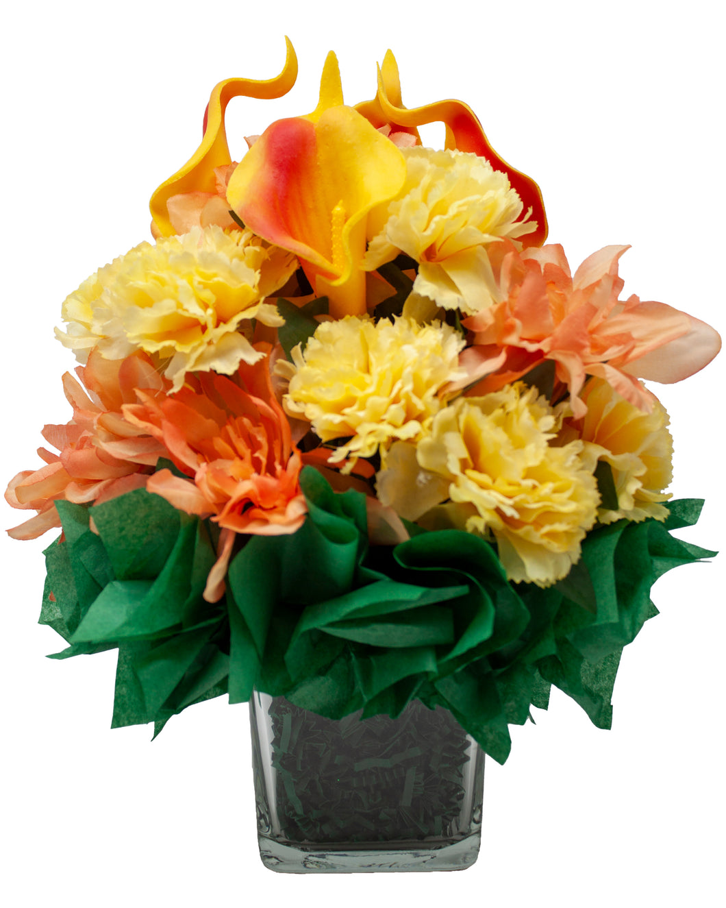 Beautiful Artificial Floral Bouquet with Calla Lilies, Carnation's and Dahlia's Arranged in a Clear Cube Glass Vase