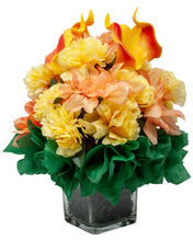 Load image into Gallery viewer, Beautiful Artificial Floral Bouquet with Calla Lilies, Carnation's and Dahlia's Arranged in a Clear Cube Glass Vase
