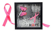 Load image into Gallery viewer, Breast Cancer Survivor Gift Wall Decor Hope Shadow Box with 3D butterfly and ribbon in pink with pink ribbon background