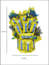 Load image into Gallery viewer, Butterfingers Candy Bouquet Fun Sized image showing dimensions 10.5 x 7.5