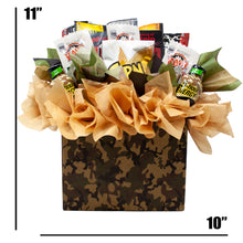 Load image into Gallery viewer, Fun Sportsman Gift with assorted Jerky, Nuts and Energy Shots Arranged in a Camo Gift Box