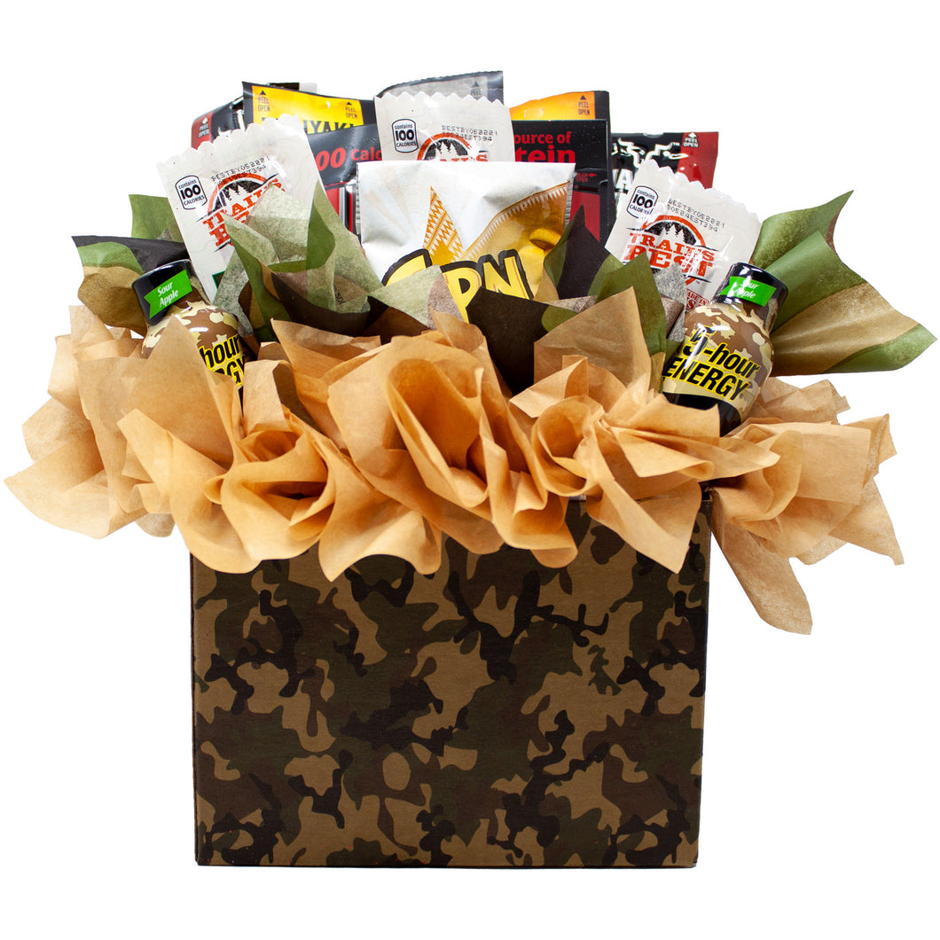 Fun Sportsman Gift with assorted Jerky, Nuts and Energy Shots Arranged in a Camo Gift Box