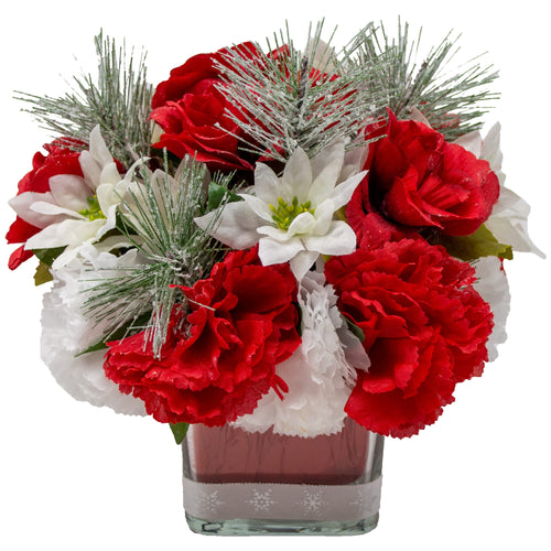 Carnations Poinsettia Holiday Bouquet Front