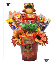 Load image into Gallery viewer, Curious Owl Candy Bouquet Dimensions
