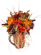 Load image into Gallery viewer, Harvest Pumpkin Pitcher Artificial Bouquet with Fall Flowers and Raffia