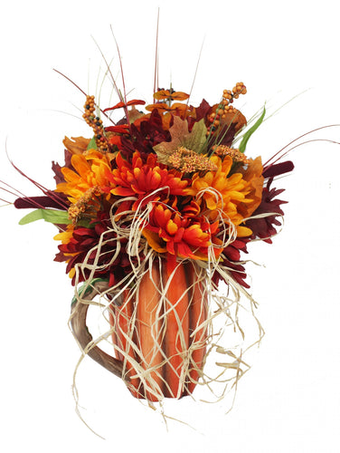 Harvest Pumpkin Pitcher Artificial Bouquet with Fall Flowers and Raffia