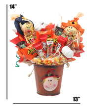 Load image into Gallery viewer, Fall Scarecrow Candy Bouquet Dimensions