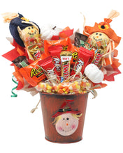Load image into Gallery viewer, Fall Scarecrow Candy Bouquet Front