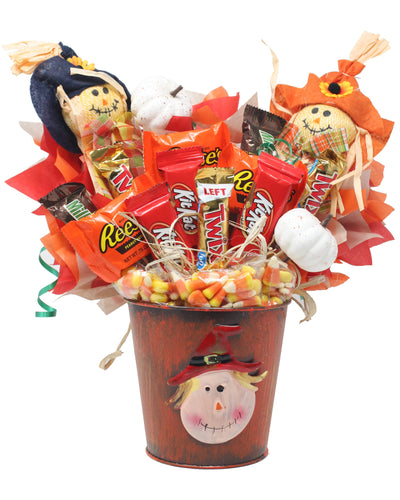 Fall Scarecrow Candy Bouquet Front