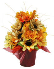Load image into Gallery viewer, Fall Silk Bouquet in Painted Owl Pail Back View