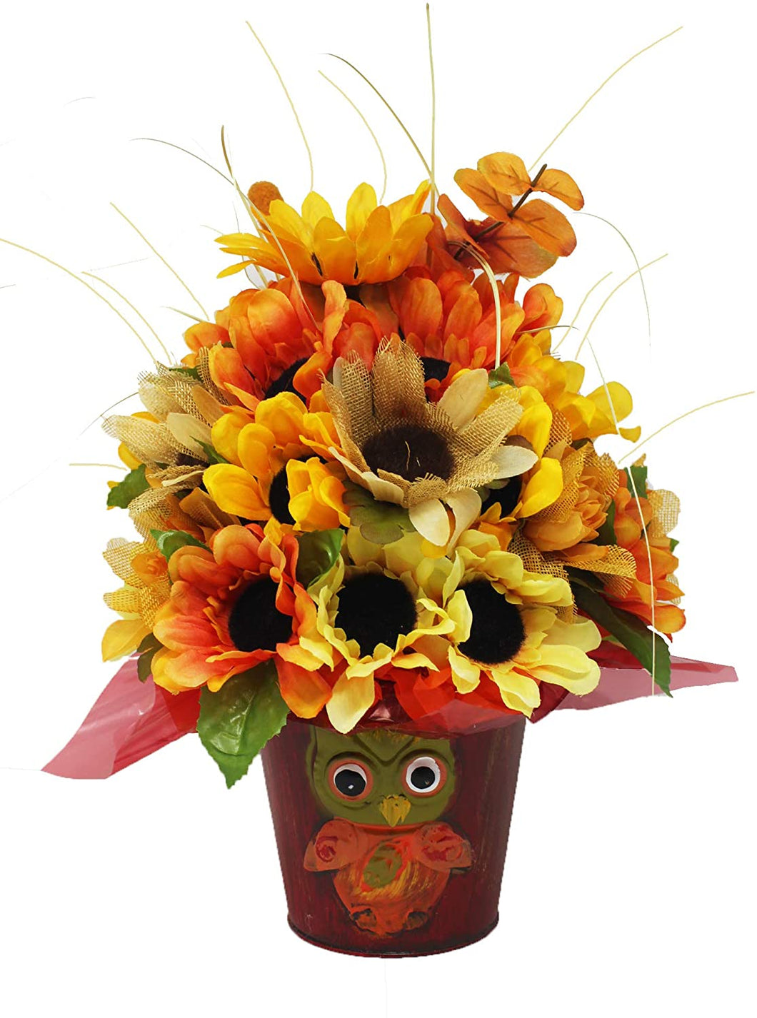 Fall silk bouquet arranged in decorative pail with owl