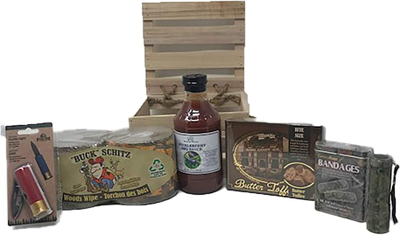 Fun & Unique Gift for Hunters Complete with Buck Schitz Toilet Paper, Camo Themed Items and Idaho Wild Huckleberry BBQ Sauce