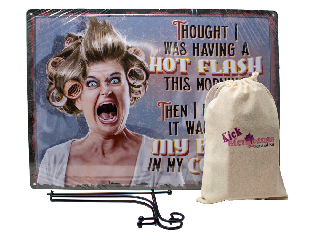 Funny Menopause Gift Set for Women with Survival Kit, Metal Sign and Display Stand